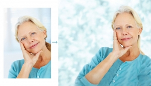 relaxed-senior-woman-looking-at-you-with-hand-on-chin figure additions in Photoshop