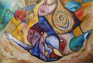 Floating worlds. oil on canvas oil on canvas. 100X70 cm