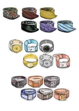 ILLUSTRATION clock ties